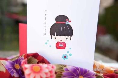 Say arigato with a letterpress kokeshi doll card from Arcadia's Sharon Maruya Shin. (Courtey Papermum Press)