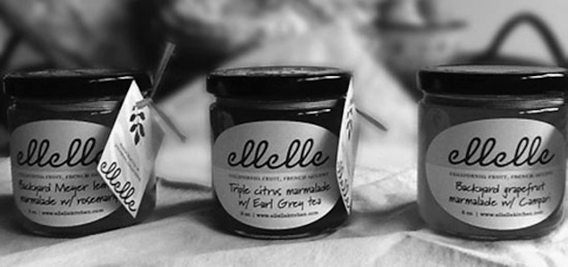 elle elle's Kitchen's marmalade homegrown grapefruit with sugar, lemon juice and Campari. Naomi also likes fig-walnut with backyard oranges and triple citrus marmalade with Earl Grey tea. $12 each plus shipping.