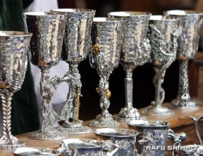 Pewter goblets await the next feast.