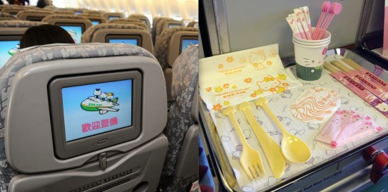"""Left: AVOD (audio/visual on demand) in Economy Class. The characters say """"Welcome aboard."""" Right: Hello Kitty cups, utensils, sugar and tray mat."""