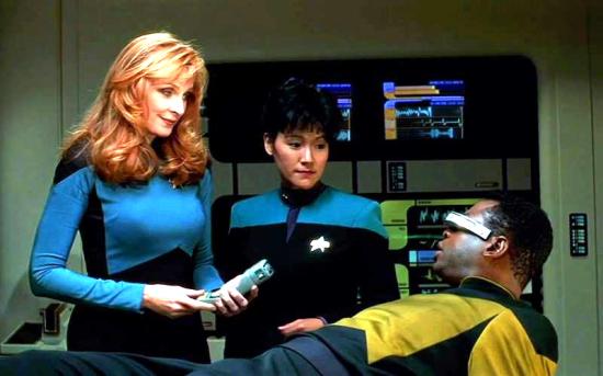 "Patti Yasutake played Nurse Alyssa Ogawa in ""Star Trek: The Next Generation."" She is pictured with Gates McFadden as Dr. Crusher and LeVar Burton as Geordi La Forge."