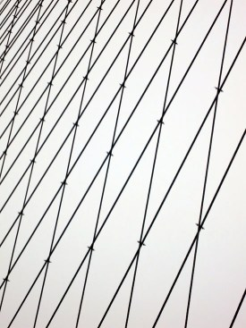 Cables crisscross to form a stylized pattern.