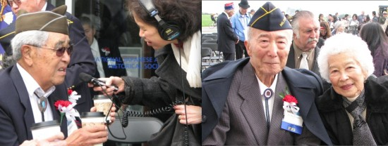 Left: A reporter interviews MIS veteran Asa Hanamoto. Right: Marvin Uratsu, past president of the MIS Association of Northern California, and his wife Miyo.
