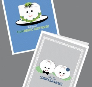 Asian-inspired greeting cards with a play on words will bring on the smiles, designs from Marci Ando of San Jose. (Card images courtesy of Modern M)