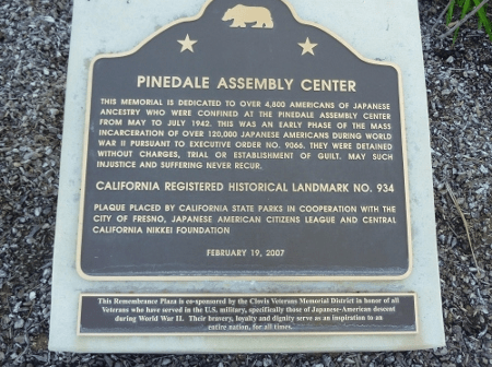 The stolen plaque relates the history of the Pinedale Assembly Center.