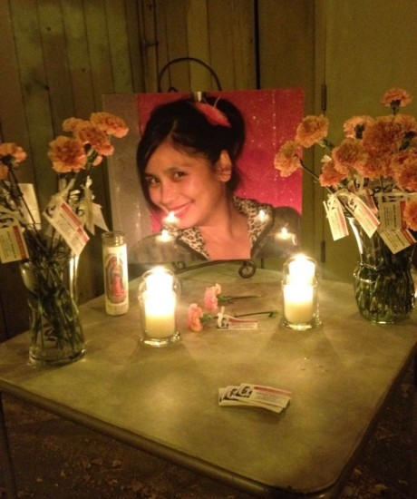 On Monday, a shrine was set up near the spot where Ashley Yamauchi's body was found in 2008. (Ana Castrillo)