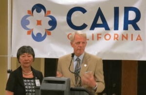 Assemblymembers Mariko Yamada and Roger Dickinson at a CAIR California event marking the end of Ramadan.