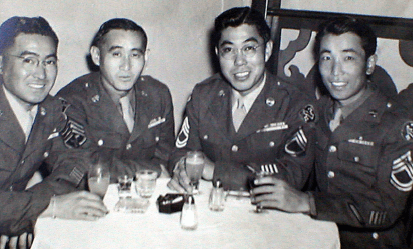 Don Oka (far right) was assigned to the Military Intelligence Service and deployed to Kiska, Alaska, then to Hawaii.