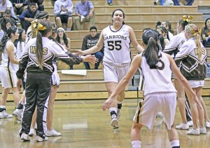 Kylie Fujioka takes the floor during introductions prior to Saturday's Div. 2A opener between West Torrance and Baldwin Park. (Photo by GAY KURAHASHI)