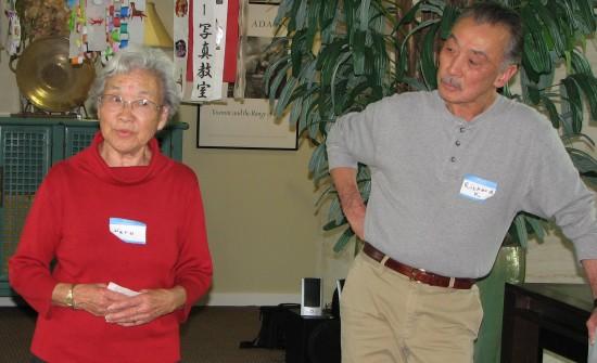 Haru Kuromiya and Richard Katsuda were among those giving presentations on the past year's events. (J.K. YAMAMOTO/Rafu Shimpo)