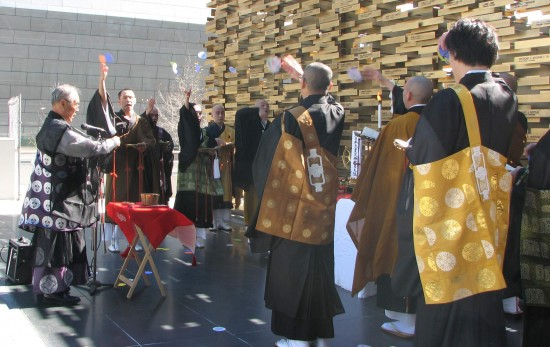 At last year's program, ministers from local Japanese American churches and temples conduct a memorial service for those lost in the earthquake and tsunami. (J.K. YAMAMOTO/Rafu Shimpo)