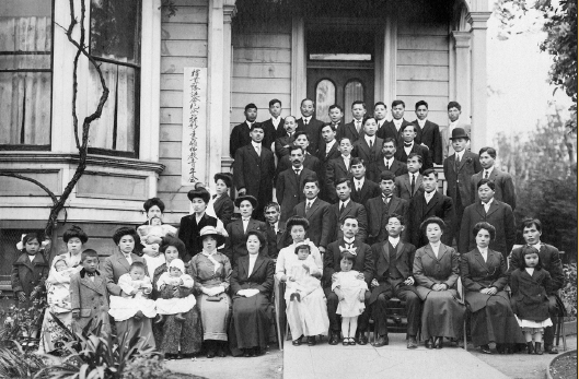 Seventy-three people decided to form a Berkeley men's Buddhist organization on May 10, 1911. The group met at people's homes at first and later found accommodations at the Chitose Hotel in Berkeley. Members of the group pose in front of the Chitose Hotel in 1913. (Courtesy Berkeley Buddhist Temple)