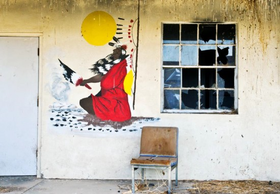 """Mural on Alcohol Recovery Center, renovated by Colorado River Indian Tribes, former Colorado River """"Relocation Center,"""" Poston I Archival Pigment Print. (Ira Nowinski/The Bancroft Library, 2009)"""