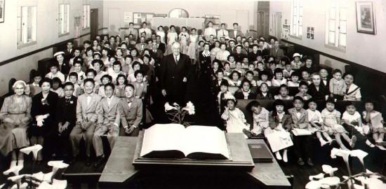 Wintersburg Japanese Presbyterian Church congregation, circa April 1956.