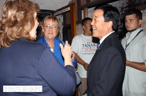 Paul Tanaka, candidate for L.A. County sheriff, greets supporters during an election night party on Tuesday at Cherrystones in Gardena. (GWEN MURANAKA/Rafu Shimpo)