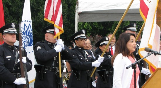 The LAPD Honor Guard posted the colors and Helen Ota sang the national anthem.