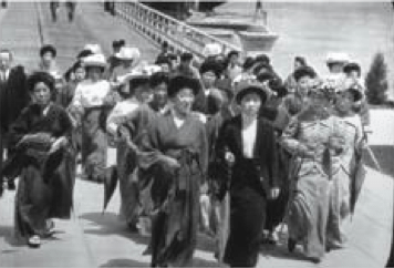 Japanese immigrants arrive at Angel Island in San Francisco Bay.