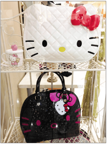 Hello Kitty handbags at Daisy boutique in the South Bay Galleria.