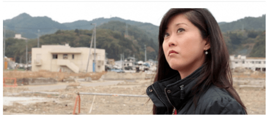 """Kristi Yamaguchi visits a town devastated by the 2011 tsunami in a scene from """"Stories from Tohoku."""""""