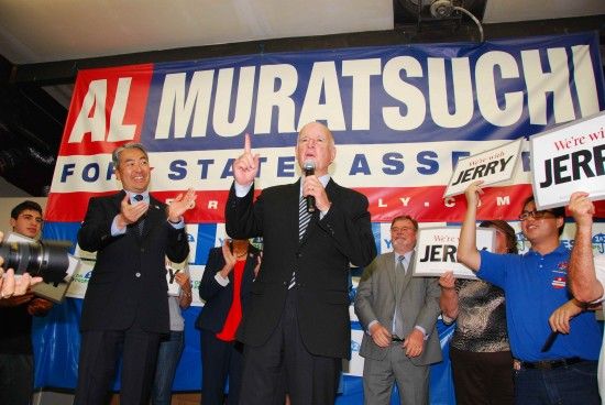 Gov. Jerry Brown declares his endorsement for Al Muratsuchi's re-election in front of a couple hundred supporters on Tuesday at the assemblyman's campaign headquarters in Torrance. Photo by Ben Higa