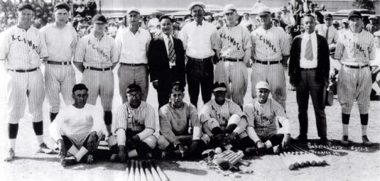 Sheri Sakai's father, KC Iwata (front row, center) with his semi-pro baseball team in the 1930s.