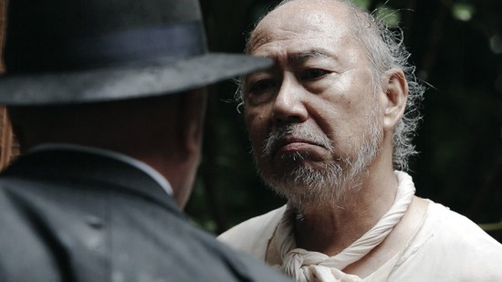 """Grampa (Dann Seki) stands up to the FBI in a scene from """"Under the Blood Red Sun."""""""