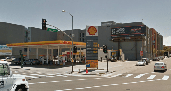 According to Takuro Hashitaka's lawsuit, he was assaulted by police officers at this gas station on the corner of  8th and Harrison in San Francisco. (Google Maps)