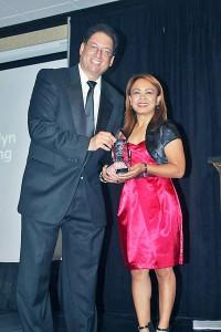 Chang accepts the Martial Arts History Museum Honor Award from President Michael Matsuda.
