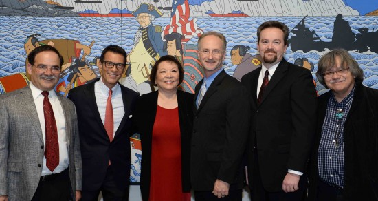 """Pictured in front of Roger Shimomura's most-recognized painting, """"Shimomura Crossing the Delaware,"""" currently on display at WSU's Museum of Art, are (from left) Daniel Bernardo, WSU provost and executive vice president; David Ono, co-producer of """"Witness"""" and ABC7 Los Angeles news anchor; Patti Hirahara, WSU donor; Jeff MacIntyre, co-producer of """"Witness"""" and owner of Content Media Group; Jeff Snell, WSU IT specialist; and Dr. John Streamas, WSU professor. (Photo by Patti Hirahara)"""