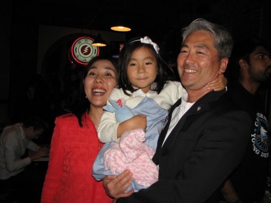 Al Muratsuchi with his wife Hiroko and daughter Sophia at his election-night party at Red Car Brewery in Torrance. J.K. YAMAMOTO/Rafu Shimpo