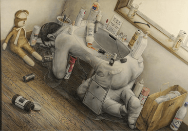 Untitled, 2001, by Tetsuya Ishida (1973–2005). Acrylic on canvas. Courtesy of private collection. © Estate of Tetsuya Ishida. Foto by cal KOWAL.