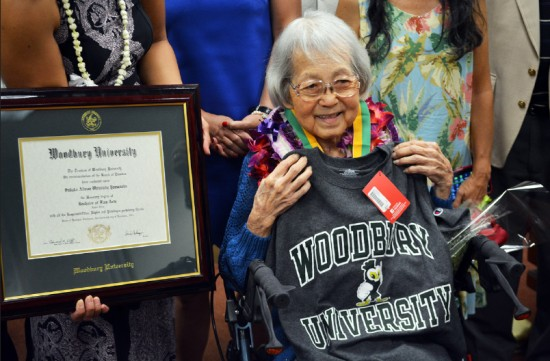 Sadako Alison Yamanaka receives an honorary degree from Woodbury University in a ceremony at the Hawaii State Capitol. She was a fashion design student in 1942.