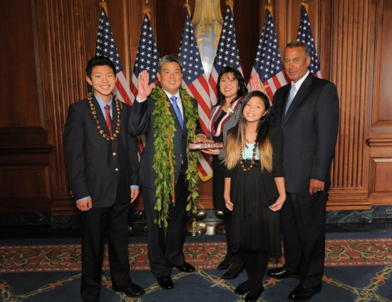 Hawaii Democrat Mark Takai was sworn in as the representative of Hawaii's 1st Congressional District by House Speaker John Boehner. Takai was accompanied by his wife, Sami; son, Matthew; and daughter, Kaila.