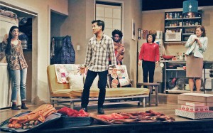 """Michael (Ewan Chung, center) explodes while Sonya (Rachna Khatau) protects her prized possession – the washer/dryer, witnessed by neighbor Sam (Corey Wright), mother Dr. Lee (Karen Huie) and manager Wendee (Nancy Stone) in East West Players' new comedy """"Washer/Dryer."""" (Michael Lamont/EWP)"""