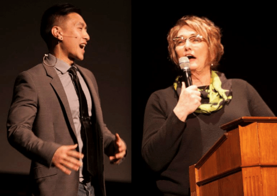 Left: Spoken-word artist Fong Tran. Right: Theresa Sparks, executive director of the San Francisco Human Rights Commission.