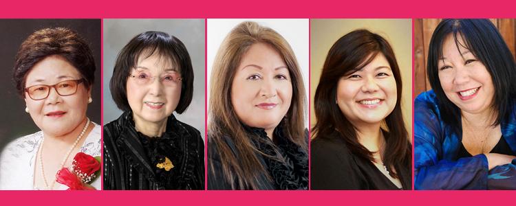 「ウーマン・オブ・ザ・イヤー」賞を受賞する(左から)呉屋君子さん、平田喜江さん、 マーサ・西中さん、パール・大宮さん、ナンシー・高山さんの5人