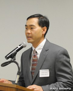 Russel Tsuda, the chair of Rising Stars, congratulates the RS12.