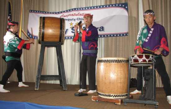 Johnny Mori, George  Abe and Danny Yamamoto of Kinnara Taiko.