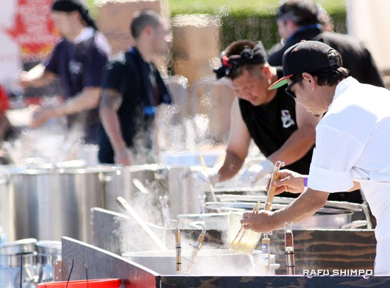 Above and below: A noodle soup championship was held at the Ramen Yokocho, in which chefs competed to be named the world ramen champion.
