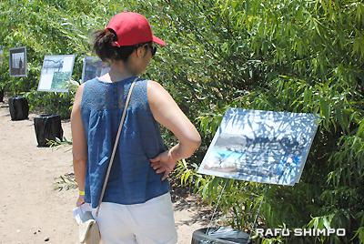 コース途中には被災地の様子が分かる展示も設置された