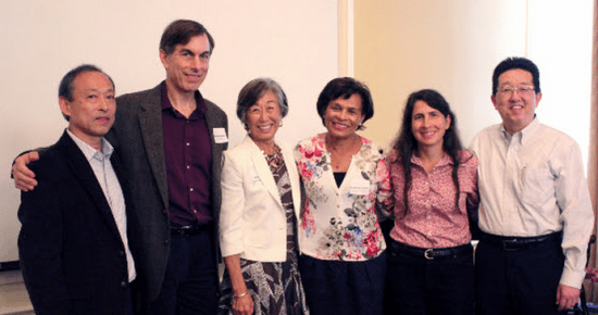 At the Retirement Celebration for Professor Marjorie Kagawa Singer. From left to right: Asian American Studies Department Chair Jinqi Ling, Department of Community Health Services Chair Steven Wallace, Professor Marjorie Kagawa Singer, Vice-Provost of the Institute of American Cultures M. Belinda Tucker, Fielding School of Public Health Dean Jody Heymann and Asian American Studies Center Director David K. Yoo.