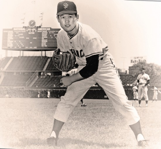 """On """"loan"""" from Japan's Nankai Hawks Masanori Murakami enjoyed unexpected success pitching for the San Francisco Giants in 1964 and 1965. A cross-Pacific contract dispute cut short what might well have been a historic Major League career. (Photo courtesy Robert K. Fitts)"""