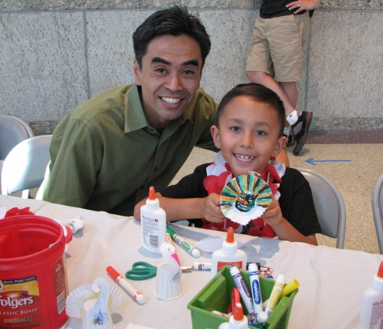 West Covina Mayor Pro Tem James Toma and his son Cruz Kenzo show off a shiisaa that they made.