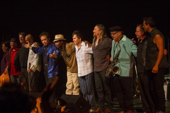 Gerald Ishibashi with Corazon de Leon, a Santana tribute band that also has a repertoire of original songs, in 2014.