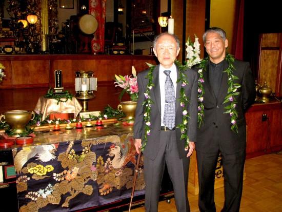 Hiroshima survivor Junji Sarashina and photojournalist Darrell Miho.