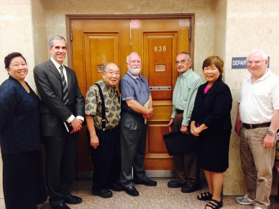 Tuna Canyon Detention Station Coalition members and a city official on hand for Judge Joanne O'Donnell's ruling were (from left) Nancy Takayama, Ken Bernstein (manager of the Office of Historic Resources and principal city planner of the Department of City Planning), Kanji Sahara, Marc Stirdivant, Lloyd Hitt, Nancy Oda and Bill Skiles.