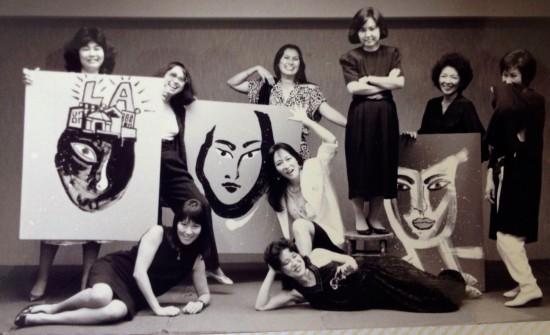 Members of Pacific Asian American Women Writers-West in 1987 (from left): standing — Ardis Nishikawa, Momoko Iko, Cecilia Brainard, Naomi Hirahara, Emma Gee, June Kim; kneeling — Akemi Kikumura Yano; lying down — Amy Uyematsu, Joyce Nako.