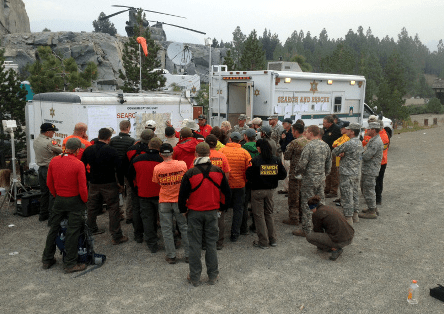 Rescue teams prepare to search for Harwood on foot. (Fresno County Sheriff's Office)