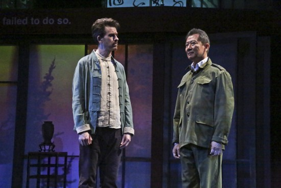 Jeff Locker as British ex-pat Peter Timms and Ben Wang as Minister of Culture Cai Guoliang in East West Players production of David Henry Hwang's Chinglish.