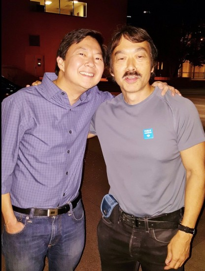 """Ken Jeong and Guy Aoki at a screening of """"Dr. Ken"""" at the Japanese American National Museum."""